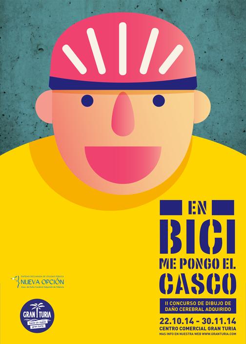 """Cartel promocional de la Exposición del II Concurso de dibujos de Nueva Opción """"En bici me pongo el casco"""""""